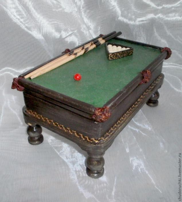 Мастер класс шкатулка бильярдный стол этап 13